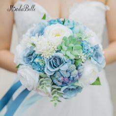 modabelle Rustic Wedding Bouquet Blue Rose Suculentas Beach Style Artificial Hand Made Flowers Bridal Bouquet Romantic 2018