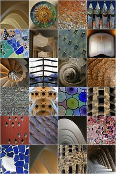 Colour & Form collages, showing the brilliant designs and architecture of Antoni Gaudi