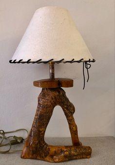 Επιτραπεζιο φωτιστικο απο ξυλο ελιας. Table Lamp, Ship, Home Decor, Rustic Lamps, Leather, Wood, Lamp Table, Decoration Home, Room Decor
