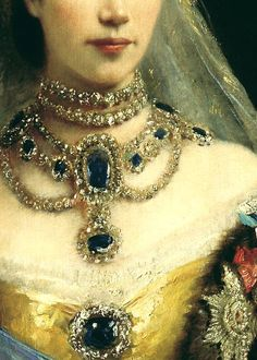 Detail of a portrait of Maria Feodorovna by Konstantin Makovsky showing some of her fabulous jewels