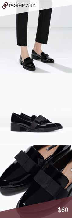 Zara Moccasin with Bow Loafers Flats. Sz 10/41 Size US 10 or EU 41. Zara shoes tend to run small so this would be a size 10 in US. Gorgeous shoes that are sold out everywhere. Worn once. Practically brand new! Don't miss out! Zara Shoes Flats & Loafers