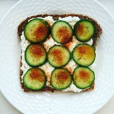 Late #healthylunch thrown together at #naptime between #groceryshopping #dishes and #laundry:  #cottagecheese and #cucumber on Eli's #healthbread with lemon juice, #oliveoil and blackened spice. Quick, easy, #filling. #momlife #multitasking. Ready for #backtoschool !