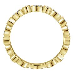 14k Yellow Gold Refined Stackable Style  Stackable Ladies' Ring With  Diamond | Gabriel & Co NY | LR5701Y45JJ