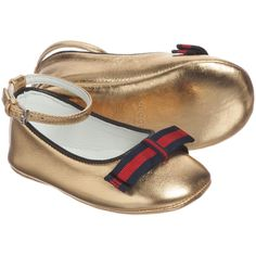 Gucci - Baby Girls Metallic Gold Leather Shoes   Childrensalon
