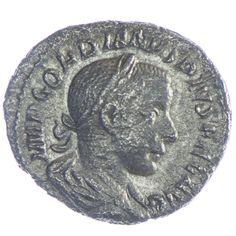 Gordianus III. Denar, Av: IMP GORDIANVS PIVS FEL AVG, belorbeerte Büste im Küraß rechts, Rv: IOVI STATORI Jupiter mit Zepter und Blitzbündel steht links
