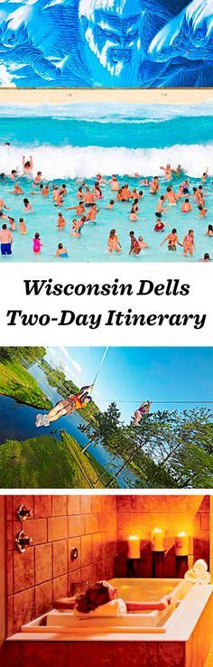 """The """"Waterpark Capital of the World"""" ranks as one of the most kid-friendly vacation spots in the Heartland, with more than 200 water slides and one of the world's only upside-down wooden roller coasters: http://www.midwestliving.com/travel/wisconsin/wisconsin-dells/wisconsin-dells-two-day-itinerary/"""