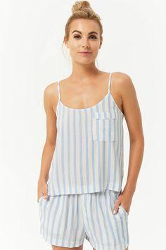 Product Name:Striped Cami & Shorts Pajama Set, Category:intimates_loungewear, Lounge Outfit, Lounge Wear, Cute Pijamas, Pijamas Women, Cute Sleepwear, Loungewear Set, Night Suit For Women, Striped Pyjamas, Seamless Underwear