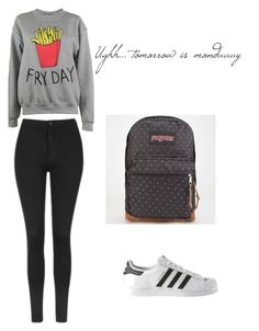 """Sunday outfit"" by maria-cristina-rodriguez on Polyvore featuring Adolescent Clothing, Topshop, adidas and JanSport"