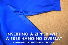 Grainline | Inserting a Zipper with a Free Hanging Overlay