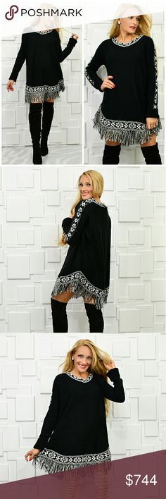 "COMFY TUNIC SWEATER Brand new Boutique item   Playful tunic sweater featuring classy vneckline, white and black print ans fringe hemline Fab for the season! Pair with thigh high boots or with leggings.  Material 100% acrylic True to size for style Length 32"" to bottom of fringe Bust approx 22"" across . Sweaters"