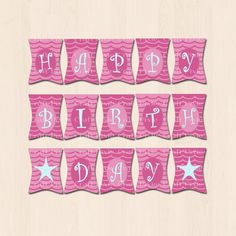Printable Birthday Bunting Banner - Pink Mermaid by TheCraftPixie