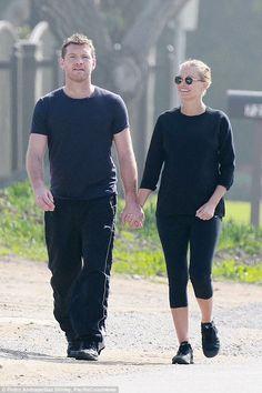 Sam Worthington and Lara Bingle - In Los Angeles.  (February 2015)