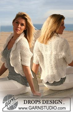 """Ravelry: 105-4 bolero in wavy pattern in """"Silke Alpaca"""" pattern by DROPS design. #free"""