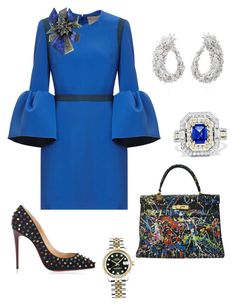 """""""Color Me Groove 💙"""" by robin-groover on Polyvore featuring Christian Louboutin, Hermès, Alexis Bittar, Effy Jewelry, Yeprem and Rolex"""