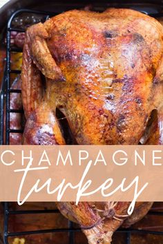 Pop the bottle before you get the party started and mix a little bubbly into this easy oven roasted champagne turkey recipe that'll have all your family and friends raving! Best Roast Turkey Recipe, Easy Leftover Turkey Recipes, Best Roasted Turkey, Baked Turkey, Leftovers Recipes, Dinner Recipes, Dinner Ideas, Freezable Meals, Freezer Meals