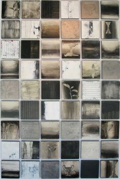 "Liaison2-2010-12""x12"" panels, grid of 48 panels. Encaustic, pigment stick, pastels. Collaboration with Mark Rediske."