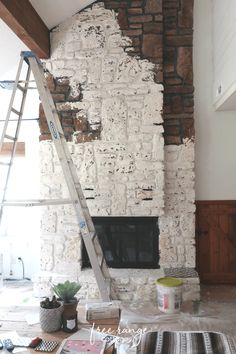 Before & After: German Schmear Fireplace Makeover - Free Range Cottage Painted Rock Fireplaces, Painted Stone Fireplace, Sandstone Fireplace, River Rock Fireplaces, Stone Fireplace Makeover, Fireplace Update, Paint Fireplace, Fireplace Design, Fireplace Makeovers