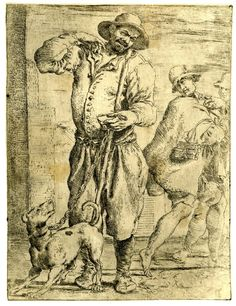 A blind beggar holding a staff in his left hand and a chain to which is attached a dog, two men occur at the right of the picture ; after Annibale Carracci, printed by Pietro Faccini.