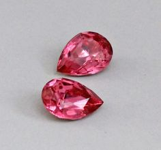 2 Rose Pink Pear Rhinestones 18x13mm Loose by ZhivanaSupplies