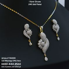 American Diamonds Gold Plated Necklace   Earrings Jewelry Set