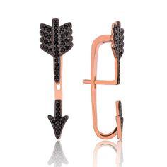 Arrow Earrings - Sterling Silver Earrings - Zirconia Stones - Arrow earring