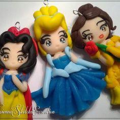 Sweet snowwhite, Cinderella and Belle polymer clay handmade fimo