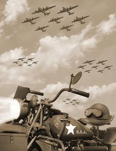 1943 Harley WFC with B - 24 Liberators 2 by Mike McGlothlen Harley Davidson Wla, Harley Davidson Tattoos, Harley Davidson Motorcycles, Vintage Bikes, Vintage Motorcycles, American Wallpaper, Harley Davidson Merchandise, Vietnam War Photos, Motorcycle Posters
