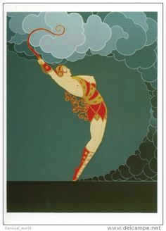 Erte Costume Art Postcard Bare Breast Sexy Woman with Whip Dancer Gown Fashion - 12716