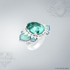 Van Cleef & Arpels Lotus d'Orient ring, Pierres de Caractère Variations collection. White gold, round and pear-shaped diamonds, round sapphires, fluted chrysoprase and one 24.44-carat oval tourmaline (origin: Mozambique)
