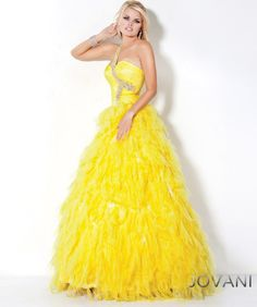 #Jovani style 3001 #JovaniFashions #dress #crystal #embellished #ballgown #feathers #yellow #YellowDress Quinceañera