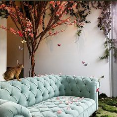 Anyone else hide their Easter eggs behind the sofa? . Featuring an Outdoor Chesterfield Sofa. Nearly all furniture designs in our standard collection can be made as an outdoor piece as well. . #georgesmithfurniture #chesterfield #outdoorfurniture #deepbuttoning #design #architecture #interiordesign #london #sofa  #luxuryhomes #instahome #homeinspo #madeinbritain #architect #easter #eastereggs #luxury #windowdisplay