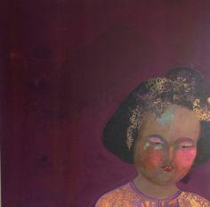 Original mix media painting by London based artist LAC. www.art-lac.com Yang Guifei V,100x100x4cm,mix media on canvas, 2011.