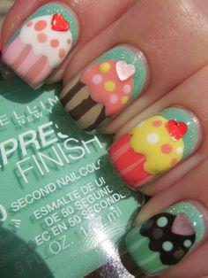 Little girls Cupcake nails Cute Nail Art, Beautiful Nail Art, Cute Nails, Little Girl Nails, Girls Nails, Girls Nail Designs, Cool Nail Designs, Pretty Nail Colors, Pretty Nails