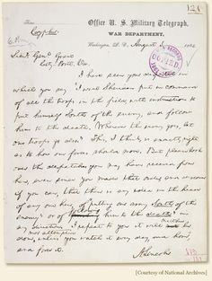 Telegram from  President Lincoln to General Grant, August 1864
