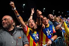 People react to results from the regional elections held in Catalonia on September 27, 2015 in Barcelona, Catalonia. The main Catalanist parties, Catalan Democratic Convergence 'Convergencia Democratica de Catalunya' party (CDC), Republican Leftist of Catalonia 'Esquerra Republicana de Catalunya' party (ERC) and a group of social associations have joined together to form a Catalan pro-independence coalition 'Junts pel Si' (Together for the Yes).