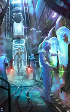 Sci fi cryo chamber, Ivan Sevic on ArtStation at https://www.artstation.com/artwork/0zP6E