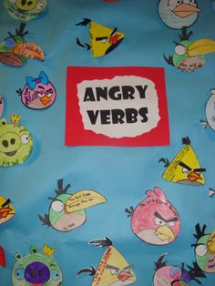Love this! Coukd do as worksheet, game or notebook for ESL.  Angry verbs board - teaching kids about verbs!