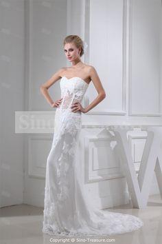 Church Sheath/ Column Soft Sweetheart Brush/ Sweep Train Lace Wedding Dresses