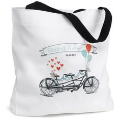 A bike built for two, aww! Personalized Tandem Bike Tote Bag - Personalized with bride and groom's name and wedding date.