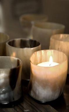 pretty horn votives. would love these with beeswax tea lights