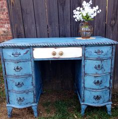 My gorgeous antique desk in Ella blue. Super chippy. Low sheen burnishing paste and waxed.https://www.facebook.com/photo.php?fbid=10204388759307106&set=o.182937092940&type=1&theater