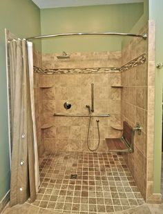 : Brilliant Bathroom Interior Design With Travertine Tile Backsplash And Curved Shower Curtain Rod Applied Brown Curtain