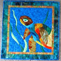 Turtle Wall Art Quilt Wall Hanging Colorful Talulah by CinfulArt, $135.00