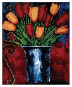 Tulips-Acrylic on board