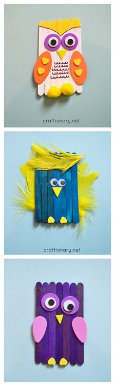 DIY bird craft for kids made with popsicle sticks