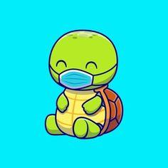 Cute Turtle Cartoon, Marines Funny, Cute Turtles, Marine Life, Cartoon Styles, Cartoon Characters, Coloring Books, Vector Free, Anime