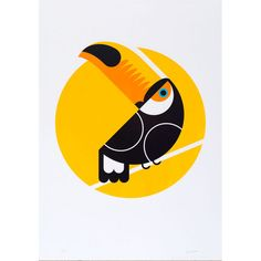 Lost Fox Toucan A3: Toucan is a limited edition, hand-pulled screen print in four colours on 270gsm Colorplan Bright White. Now in a new A3 size, each print is signed and numbered in an edition of 125,and supplied unframed.  The Lost Fox is Dan Forster and Jan Hirst. Together, they have over 30 years combined experience in illustration and graphic design.  All of their prints are produced using water-based inks only and the finest quality British-made, FSC-accredited Colourplan board.