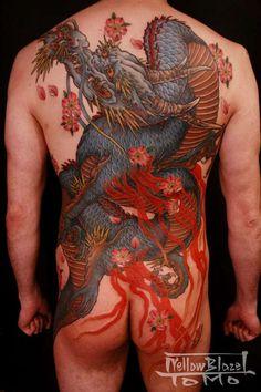 Yellowblaze tattoo studio by Shige - blue dragon design