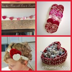 Valentine's crochet projects for baby, home, and gifts - baby headband crochet pattern - heart garland crochet pattern - heart basket crochet pattern - heart coasters crochet pattern.