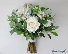 wedding flowers, wedding bouquet, eucalyptus bouquet, silk bouquet, bridal bouquet, rustic bouquet, boho bouquet, ivory, white, green
